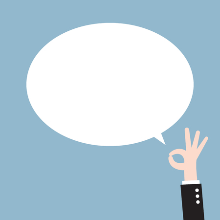 ok sign: ok raised hand and blank bubble. vector illustration