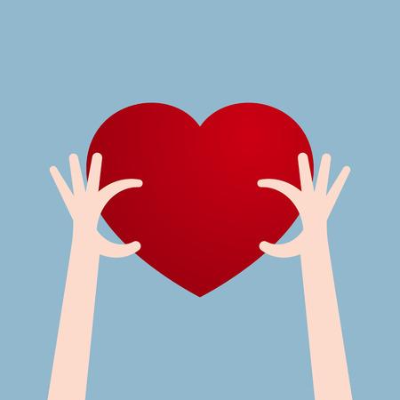 accomplish: human hand holding heart. vector illustration Illustration