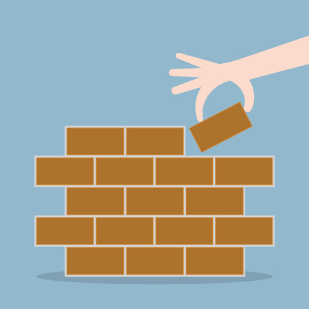 brick: human hand lay bricks, start from first brick concept. vector illustration