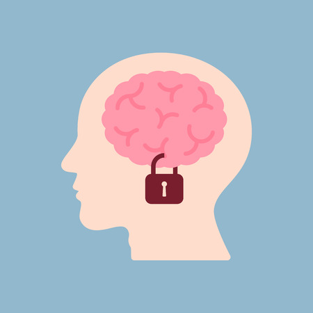 think safety: brain lock in human head, information security concept. vector illustration