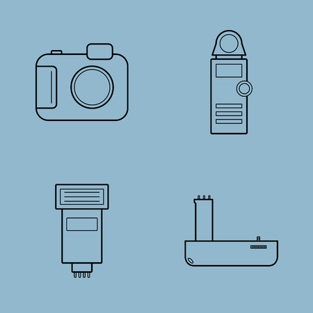 grip: camera accessories line icon set vector illustration. camera, light meter, flash and battery grip.