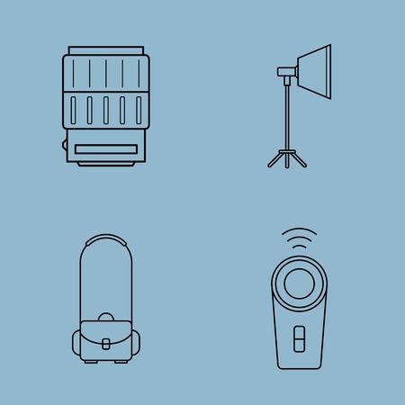shoulder bag: camera accessories line icon set vector illustration. lens, studio light, soft box, shoulder bag and remote control. Illustration