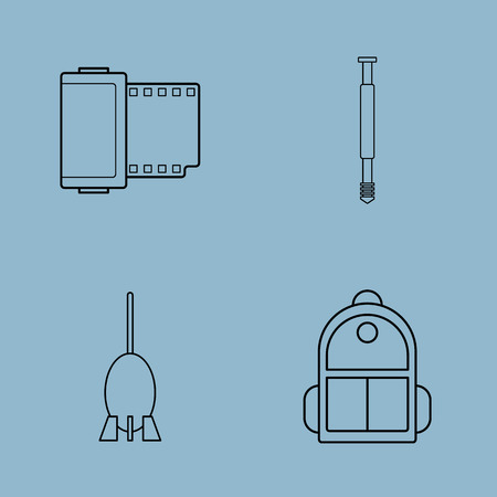 blower: camera accessories line icon set vector illustration. film, monopod, blower, and backpack. Illustration