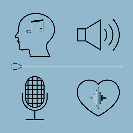 estafette stokje: muziek lijn icon set vector illustratie. Hoofd, menselijk, speaker, microfoon, hart, orkest, dirigent en wapenstok. Stock Illustratie