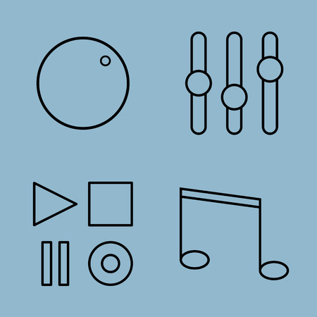 volume control: music line icon set vector illustration. volume control, equalizer, button, play, stop, pause, record and note. Illustration