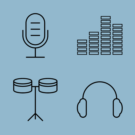 earphone: music line icon set vector illustration. microphone, equalizer, instrument, drum and earphone.
