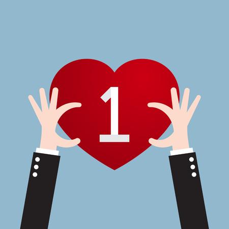 accomplish: businessman hand holding heart. vector illustration Illustration