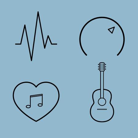 volume control: music line icon set vector illustration. wave, volume control, heart, love, and guitar, ukulele.