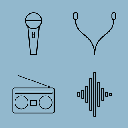 earphone: music line icon set vector illustration. microphone, earphone, radio and equalizer.