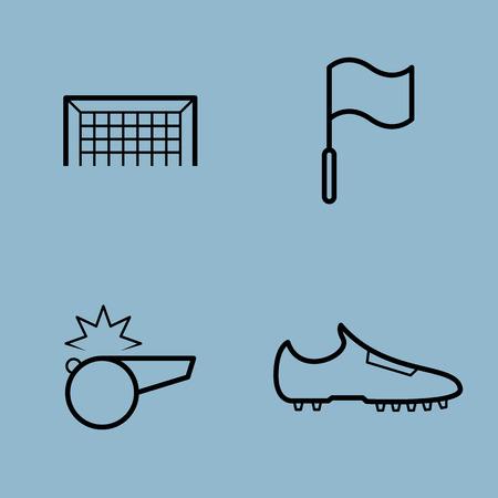 soccer shoe: soccer line icon set vector illustration. goal, flag, whistle and shoe.