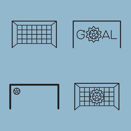 goal net: soccer line icon set vector illustration. goal, net, and score.