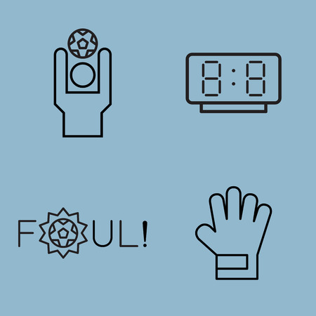 foul: soccer line icon set vector illustration. throw, watch, time, foul, and goalkeeper glove.