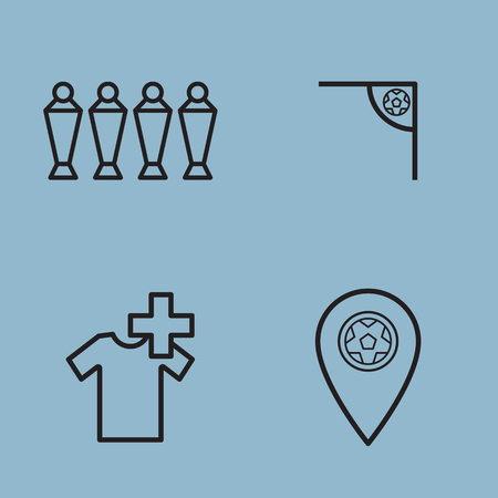 map pin: soccer line icon set vector illustration. wall, corner, injury, substitution and map pin.