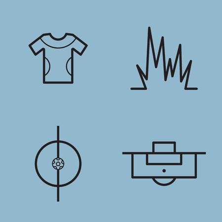 soccer field: soccer line icon set vector illustration. shirt, player, grass, ball, stadium and penalty. Illustration