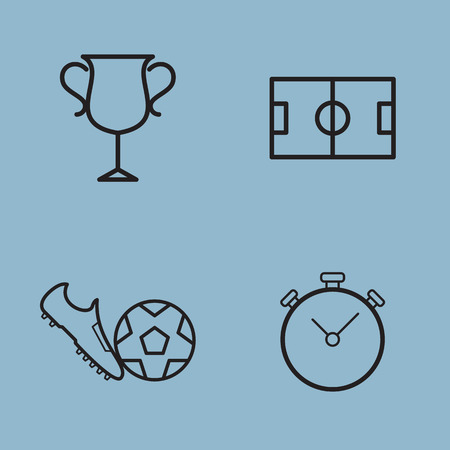 soccer shoe: soccer line icon set vector illustration. trophy, cup, stadium, shoe, ball and stop watch.