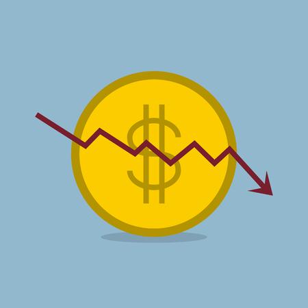 stock crisis arrow down with dollar coin vector illustration. Illustration