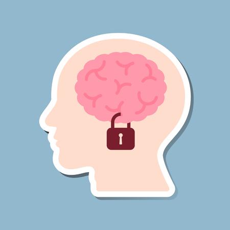 brain lock in human head, information security concept. vector illustration