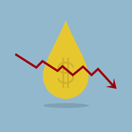 stock crisis arrow down with oil price fall vector illustration. Illustration