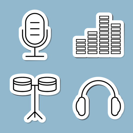 music line icon set vector illustration. microphone, equalizer, instrument, drum and earphone.