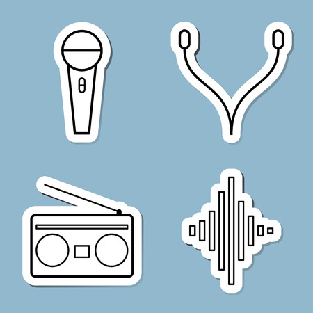 music line icon set vector illustration. microphone, earphone, radio and equalizer.