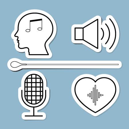 PARLANTE: icono de línea conjunto de música ilustración vectorial. cabeza, humano, altavoz, micrófono, corazón, orquesta, conductor y bastón. Vectores