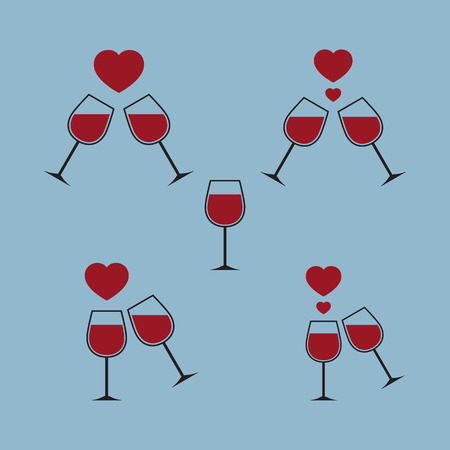 heart wine glass vector illustration Illustration