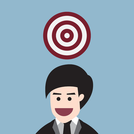 business man with target on top head, goal idea concept. vector illustration Illustration