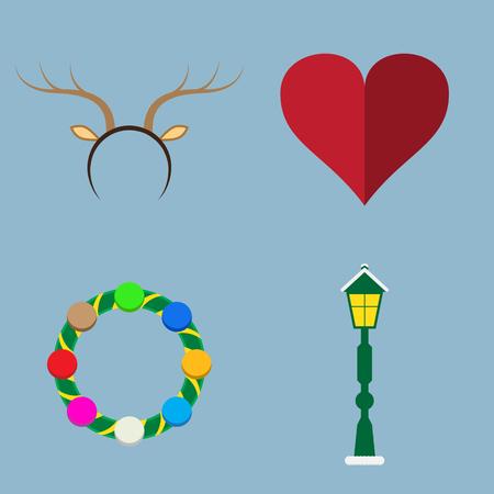 lamp post: Christmas icon set vector illustration. horn, tiara, heart, wreath and lamp post. Illustration