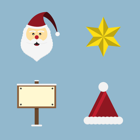 clause: Christmas icon set vector illustration. santa clause, star, wooden sign board and hat.