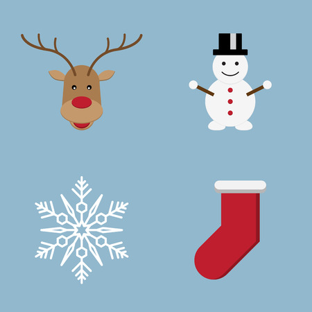 snowman vector: Christmas icon set vector illustration. reindeer, snow, crystal, snowman and sock. Illustration