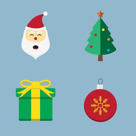 christmas present: Christmas icon set vector illustration. santa claus, tree, present, gift and ball. Illustration