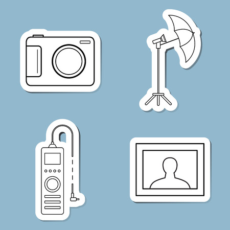 fernsteuerung: camera accessories line icon set vector illustration. camera, umbrella, remote control and photograph.