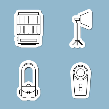 remote control: camera accessories line icon set vector illustration. lens, studio light, soft box, shoulder bag and remote control. Illustration