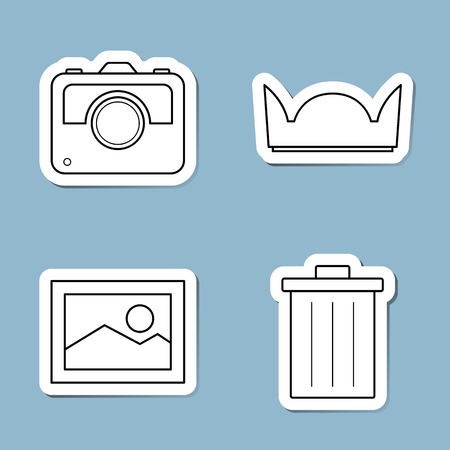 photograph: camera accessories line icon set vector illustration. slr, hood, photograph, frame and bin.