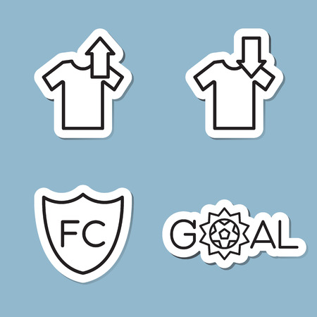 substitution: soccer line icon set vector illustration. substitution, shirt, club and goal.