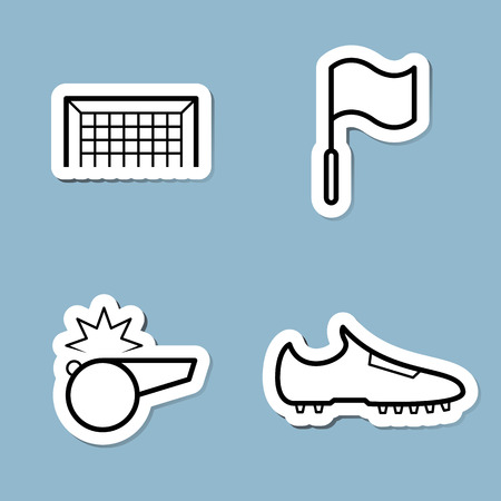 football shoe: soccer line icon set vector illustration. goal, flag, whistle and shoe.