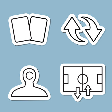 substitution: soccer line icon set vector illustration. yellow card, red card, substitution, captain, player and stadium.