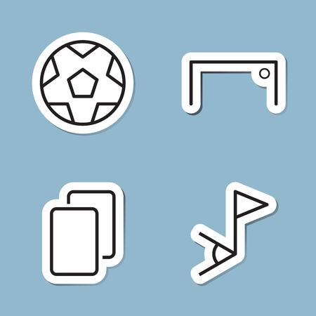 soccer goal: soccer line icon set vector illustration. ball, goal, card and corner flag.