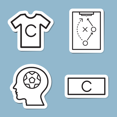 armband: soccer line icon set vector illustration. captain, player, strategy, head and armband