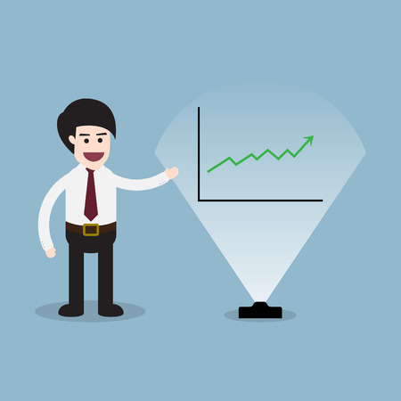 visual screen: stock arrow raise up with business man 3D visual screen presentation and graph vector illustration.