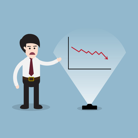 visual: stock crisis arrow down with business man 3D visual screen presentation and graph vector illustration.