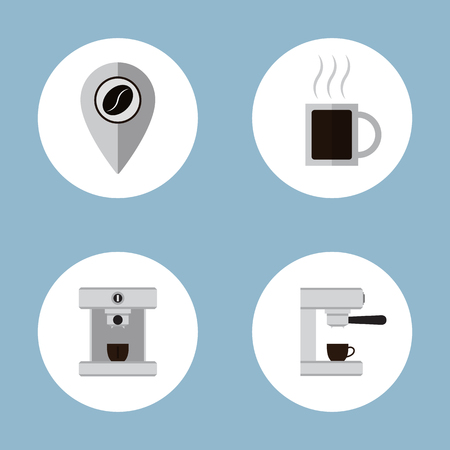 map pin: coffee and tea flat icon set vector illustration. map pin, beans, cup, machine
