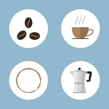 percolator: coffee and tea flat icon set vector illustration. beans, cup, stain ring, and percolator. Illustration
