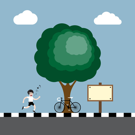 footpath: a happy singing man exercise by running(jogging) and listening music at footpath with tree, bicycle and wooden board vector illustration Illustration