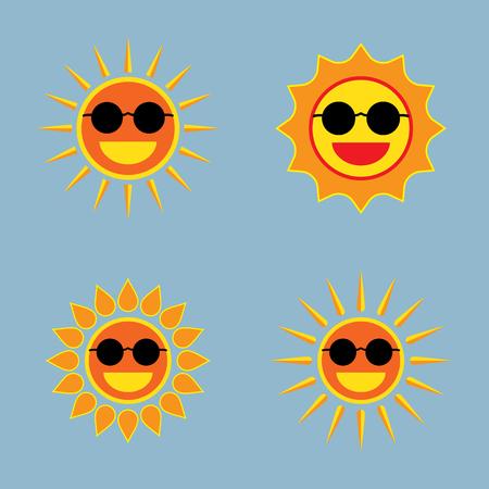 warm weather: sun wearing sunglasses icon set vector illustration