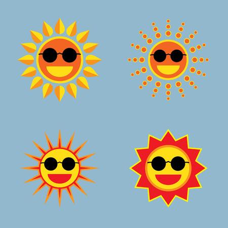 sun wearing sunglasses icon set vector illustration