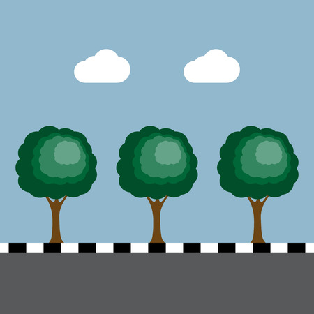 footpath: trees at footpath on the road vector illustration