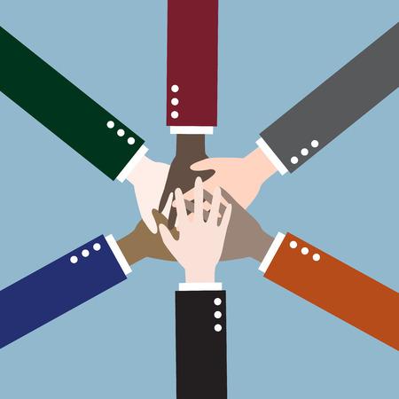 teamwork together: teamwork hands, collaboration concept. vector illustration Illustration