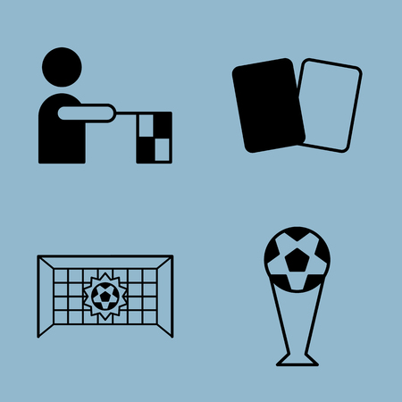offside: soccer icon set vector illustration. referee, yellow card and red card, offside, goal and trophy cup.