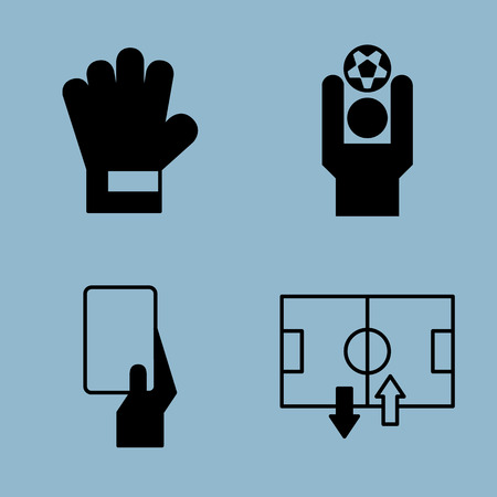 soccer icon set vector illustration. goalkeeper, glove, throw, yellow card and red card, stadium and substitution. Illustration